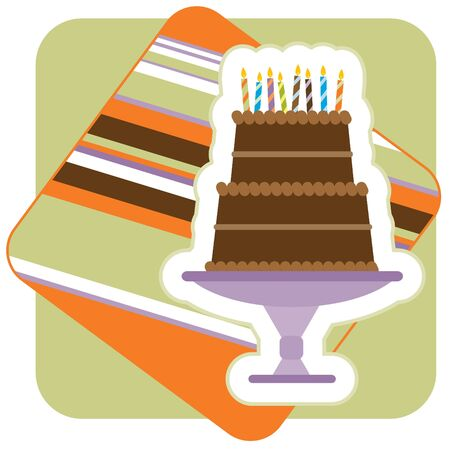 Illustration of a Chocolate Birthday Cake, with candles.