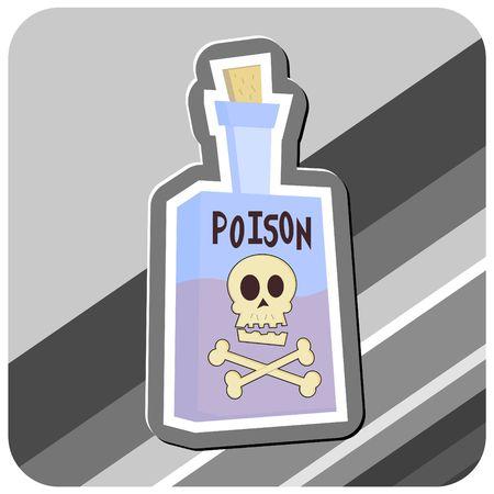 Cartoon ilustración de una botella de veneno, con Calavera y tibias cruzadas.  Foto de archivo - 1207827