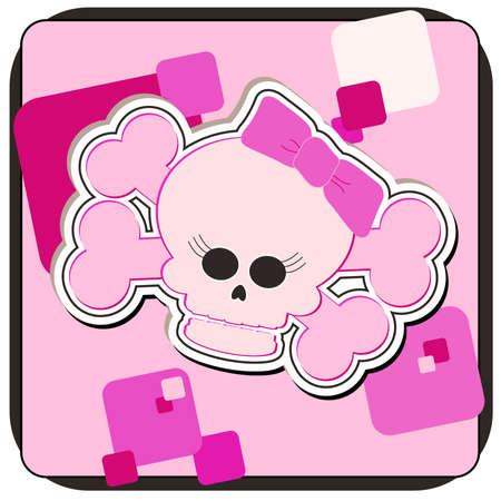 Cartoon illustration of a Girly Skull and Crossbones. Stok Fotoğraf - 1262267