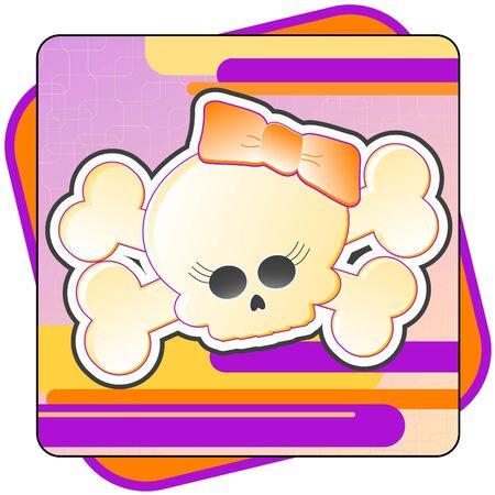 Cartoon illustration of a Girly Skull and Crossbones. Stok Fotoğraf - 1297409