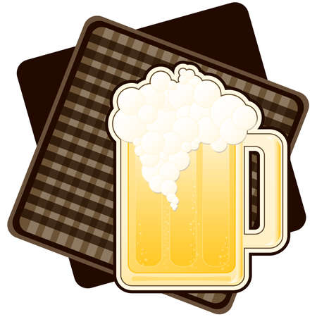 Illustration of a mug of beer, on brown checked background.