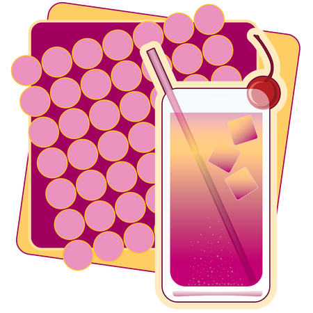 Illustration of a Shirley Temple, with a cherry and ice cubes. Imagens