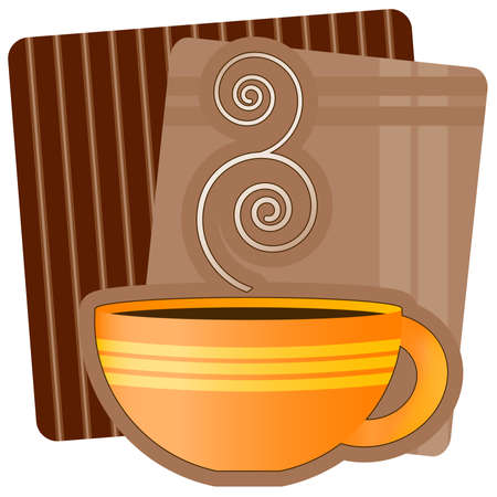 Illustration of a cup of steaming hot beverage (coffee, strong tea, hot chocolate).