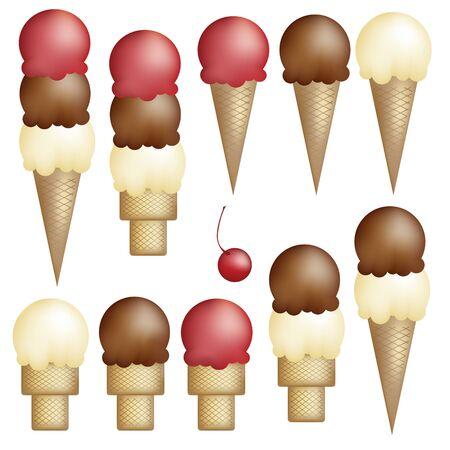 アイス クリーム コーン - シングル、ダブル、トリプル - ストロベリー、バニラ、およびチョコレート。桜。