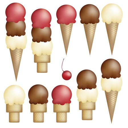 Ice Cream cones - single, double, triple - strawberry, vanilla, and chocolate. And a cherry.