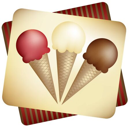 Ice Cream cones - strawberry, vanilla, and chocolate, on a vintage looking background. Фото со стока