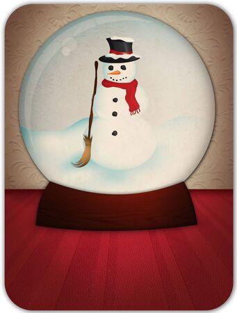 antiqued: Christmas snow globe illustration using a mix of raster and vector elements.