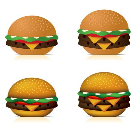 dynamically: Illustration of a single cheeseburger and a double cheeseburger. The two top row burgers have a basic colour job, while the two lower burgers have been coloured my dynamically.
