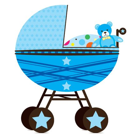 Illustration of a pram for a  boy.