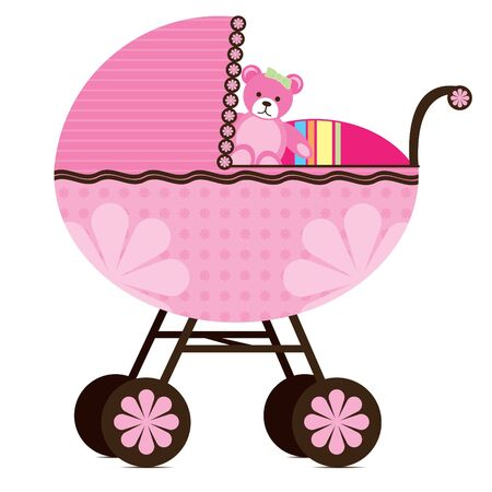 Illustration of a pram for a  girl.