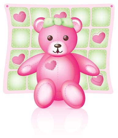 Illustration of a pink teddy bear with button eyes and green bow,  blanket behind.
