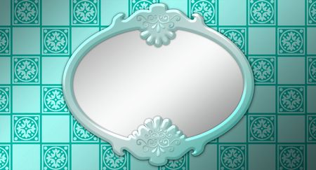Raster Illustration of a Framed Mirror on a wallpapered wall. Banco de Imagens