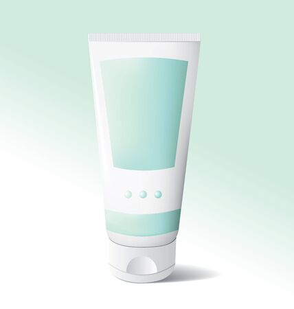 Illustration of a cosmetic tube. Could be facewash, moisturizer, bodywash, sunscreen ...