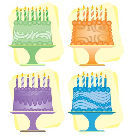 4 4 誕生日ケーキ、緑、オレンジ、紫、青 - それぞれ異なる装飾されています。