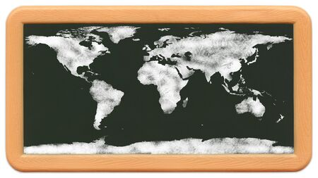 Childs mini plastic chalkboard with a wold map drawn in chalk.