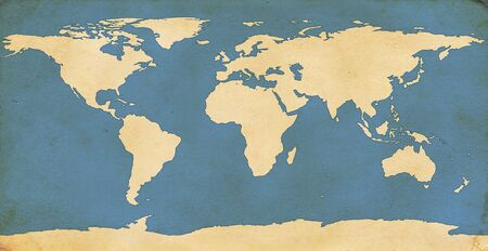 antique paper: World map on aged, grungy paper.