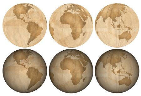 Three views of earth made of crumpled paper. Thee flat and three with shading.