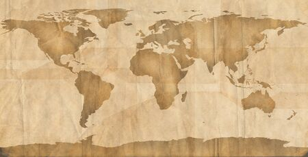 World map on aged, grungy paper. Stock Photo - 14847560