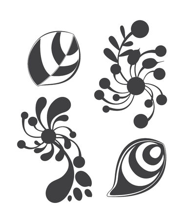 Floral ornament elements collection isolated on white background  Elements can be used for wallpapers, surface textures, pattern fills and web page backgrounds Illustration