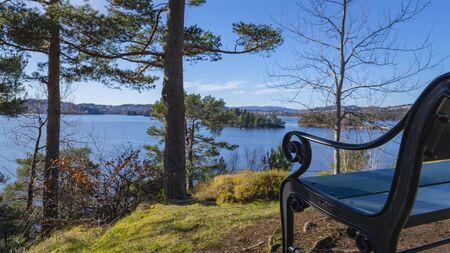 Beautiful view of Nordåsvannet lake, Bergen, Norway. Stockfoto - 134900568