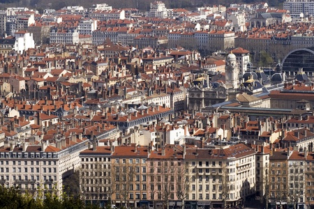 bird s eye: A bird s eye view of the French city of Lyon with the city hall on place des Terreaux  Stock Photo