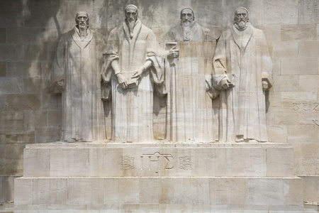 reformation: The four reformists commemorated on a wall in Parc Des Bastions in Geneva, Switzerland Editorial