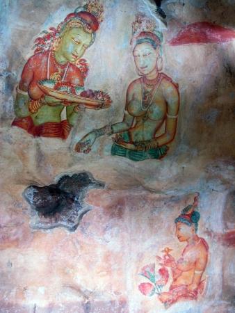 sri lanka: Frescoes at Sigiriya, Sri Lanka