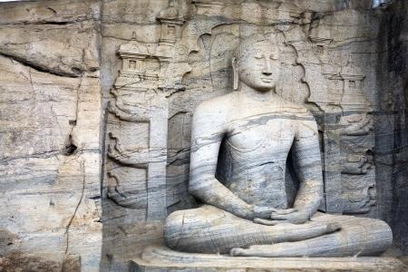 an obeisance: Seated buddha in meditation at Polonnaruwa