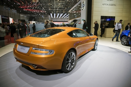 GENEVA, SWITZERLAND - MARCH 4, 2011 - Aston Martin Virage is presented at the annual motor show in Geneva on March 4, 2011.