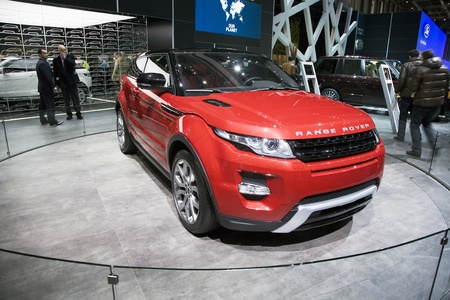 GENEVA, SWITZERLAND - MARCH 4, 2011 - Range Rover Evoque Coupe is presented at the annual motor show in Geneva on March 4, 2011.