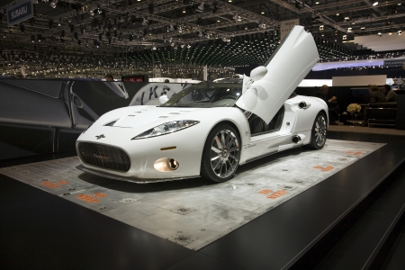 aileron: GENEVA, SWITZERLAND - MARCH 4, 2011 - Spyker Aileron is presented at the annual motor show in Geneva on March 4, 2011.