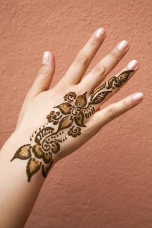 moroccan culture: Henna Tattoo Stock Photo