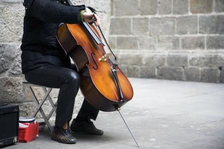 cellos: Busker Stock Photo