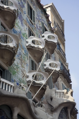 modernist: BARCELONA, SPAIN – MARCH 15, 2010: Casa Batllo also known as the Casa dels Ossos (House of Bones) on March 15, 2010 in Barcelona, Spain. The famous building was designed by Antoni Gaudi and is a designated UNESCO World Heritage site. Editorial