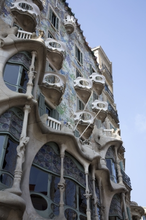 BARCELONA, SPAIN � MARCH 15, 2010: Casa Batllo also known as the Casa dels Ossos (House of Bones) on March 15, 2010 in Barcelona, Spain. The famous building was designed by Antoni Gaudi and is a designated UNESCO World Heritage site.