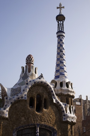 BARCELONA, SPAIN - MARCH 15, 2010: The famous Park Guell designed by Antoni Gaudi and built during the period between 1900 and 1914 on March 15, 2010 in Barcelona, Spain.  The park is a designated UNESCO World Heritage Site Works of Antonio Gaudi.