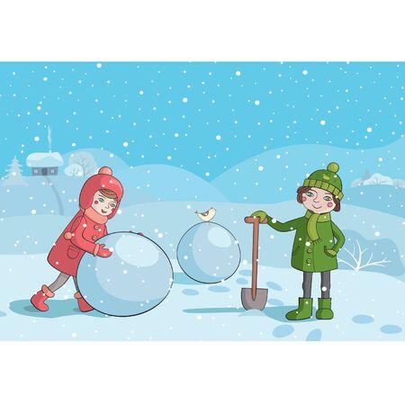 Illustration of children making snowman in the winter morning Illustration