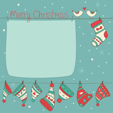 Christmas card with birds, socks and hats on the turquoise background with snowfall Stock Vector - 16588729