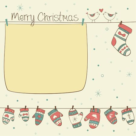 Christmas card with birds, socks, mittens on the yellow background with snowfall Illustration