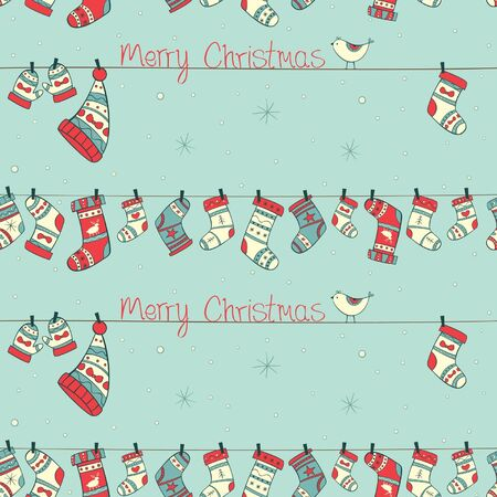 Christmas seamless pattern with birds, socks, mittens and hats on the cyan background with snowfall Illustration