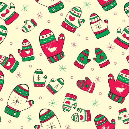Winter seamless pattern with red-green mittens on the yellow background Ilustrace