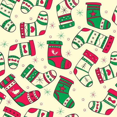Winter seamless pattern with red-green socks on the yellow background Stock Vector - 16588731