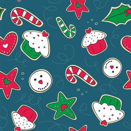 Seamless pattern with red, green and white Christmas gingerbread cookies Stock Vector - 16921914