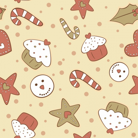 Seamless pattern with Christmas gingerbread cookies  Vector