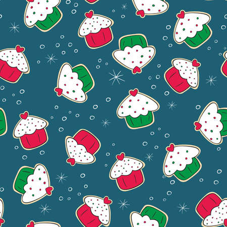 seamless pattern with Christmas gingerbread cookies with green and red cakes  Illustration