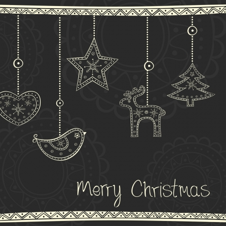 Greeting card with Christmas tree decoration on black background