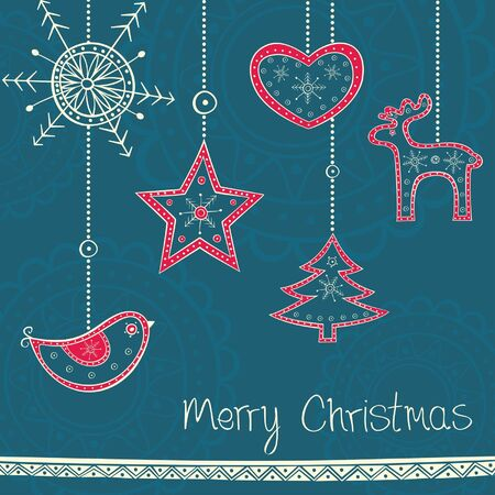 Greeting card with Christmas tree decoration on turquoise background Vector
