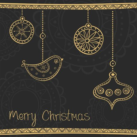Greeting card with ethnic gold Christmas tree decoration on black background