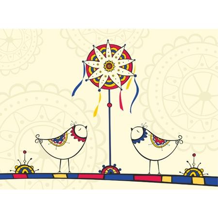Greeting card with Traditional Ukrainian Christmas symbols Stock Vector - 16921927