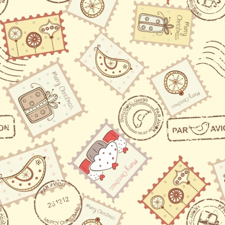 Seamless pattern with christmas post stamps on yellow background Stock Vector - 16921921